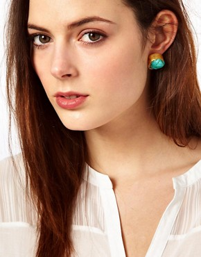 Image 2 ofKasturjewels 22kt Gold Plated Turquoise Stone Stud Earrings