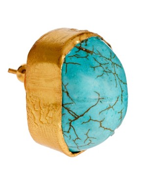 Image 3 ofKasturjewels 22kt Gold Plated Turquoise Stone Stud Earrings