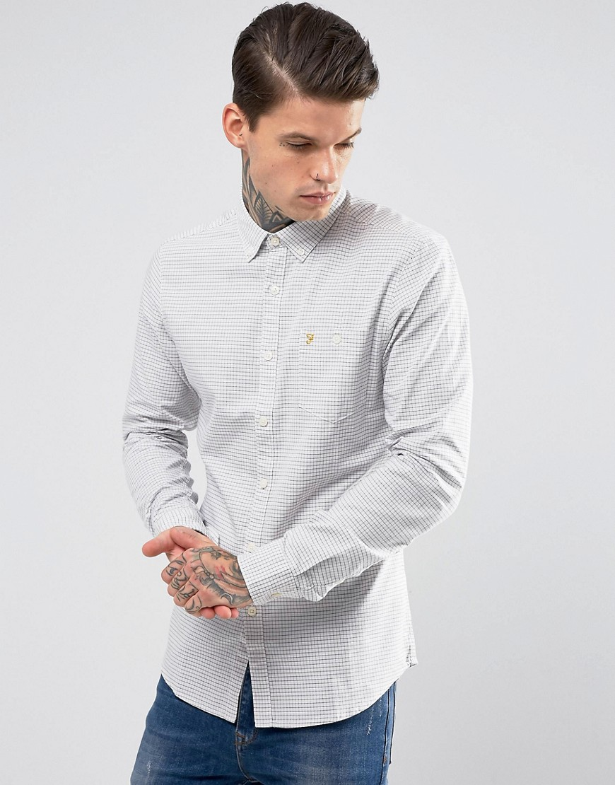 Farah Slim Check Shirt - White