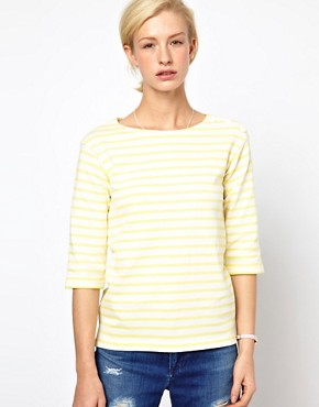 Image 1 ofMih Striped Boat Neck T-Shirt