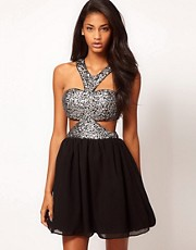Rare Sequin Chiffon Cut Out Skater Dress