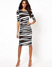 John Zack Midi Dress in Bandage Stripe