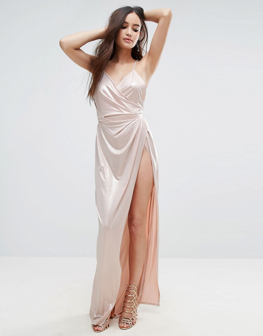 ASOS Slinky Lame Wrap Maxi Dress - Pink
