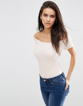 ASOS The Off Shoulder Body With Short Sleeves In Rib