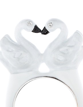 Image 4 ofDisaya White Enamel Swan Ring