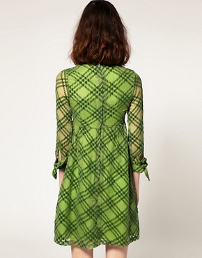 Image 2 ofPeter Jensen Tie Cuff Dress in Silk Devore
