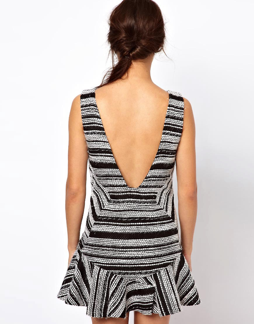 Image 2 of Three Floor Short Cut Stripe Dress With Deep V Back