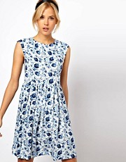 ASOS Smock Dress in Blue Floral