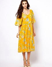 ASOS Midi Dress With Kimono Sleeve In Floral Print