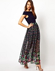 Rare Bandage Maxi Dress with Floral Print Skirt
