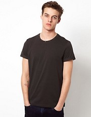 ASOS T-Shirt With Studded Neck And Rolled Sleeve