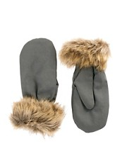 Pieces Taos Mittens With Faux Fur Trim