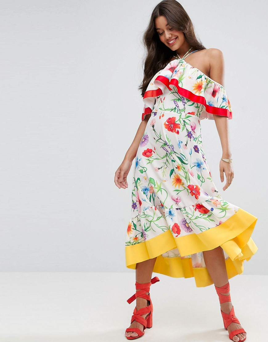 ASOS Cold Shoulder Midi Dress in Cultura Floral Print - Multi