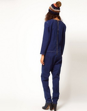 Image 2 ofASOS Premium Denim Boilersuit in Clean Indigo