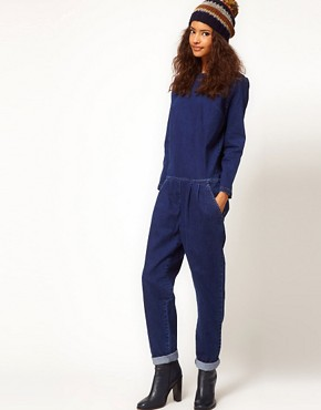 Image 4 ofASOS Premium Denim Boilersuit in Clean Indigo