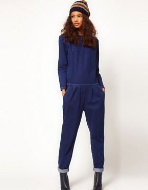 Image 1 ofASOS Premium Denim Boilersuit in Clean Indigo