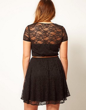 Image 2 ofASOS CURVE Lace Skater Dress With Belt