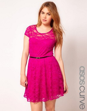 Image 1 ofASOS CURVE Lace Skater Dress With Belt