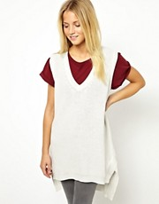 ASOS Tank In Chunky Knit With Stepped Hem