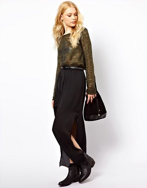 Image 1 ofRiver Island Washed Satin Maxi Skirt