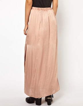 Image 2 ofRiver Island Washed Satin Maxi Skirt