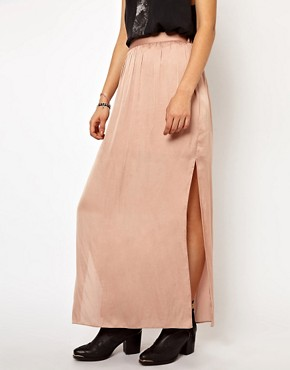 Image 4 ofRiver Island Washed Satin Maxi Skirt