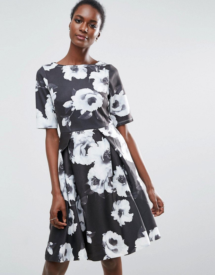 Traffic People 3/4 Sleeve Floral Skater Dress