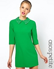 ASOS PETITE Exclusive Mini Shift Dress with Embellished Collar