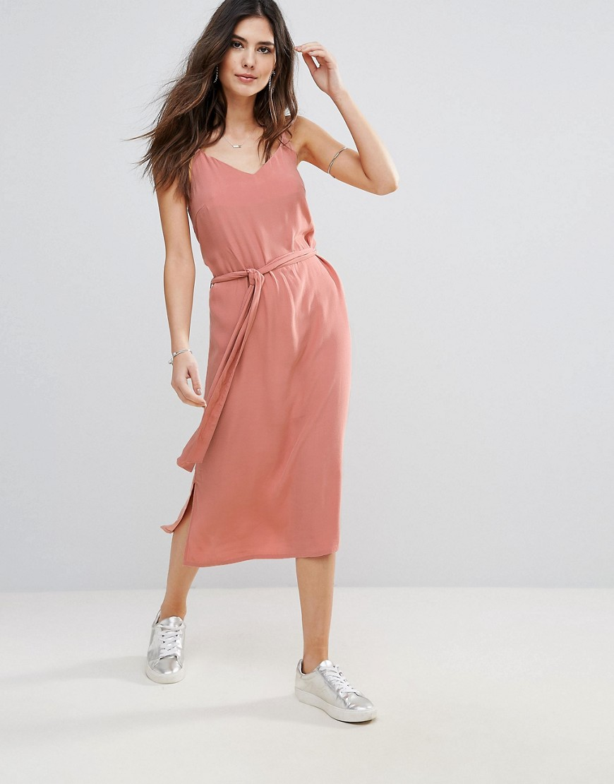 Soaked In Luxury Belted Cami Dress - Rose dawn