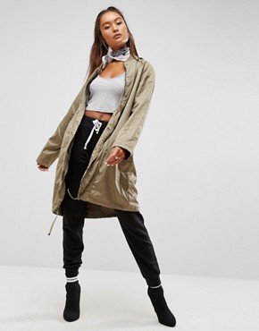 ASOS 2 in 1 Parka in Contrast Fabrics