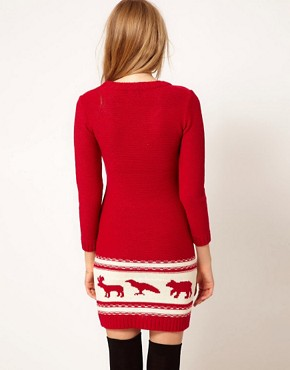 Image 2 ofASOS PETITE Exclusive Chunky Animal Sweater Dress