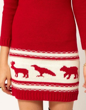Image 3 ofASOS PETITE Exclusive Chunky Animal Sweater Dress