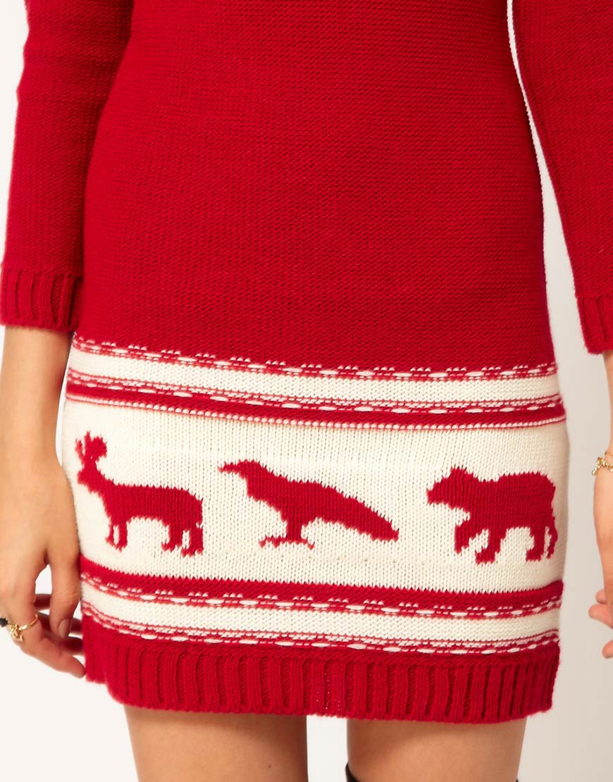 Image 3 of ASOS PETITE Exclusive Chunky Animal Sweater Dress