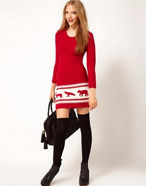 Image 4 ofASOS PETITE Exclusive Chunky Animal Sweater Dress