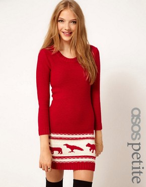Image 1 ofASOS PETITE Exclusive Chunky Animal Sweater Dress