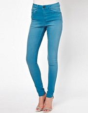 ASOS Ridley Supersoft High Waisted Ultra Skinny Jeans in Washed Teal