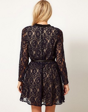 Image 2 ofOasis High Neck Lace Dress