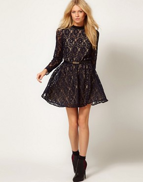 Image 4 ofOasis High Neck Lace Dress