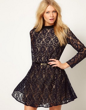 Image 1 ofOasis High Neck Lace Dress