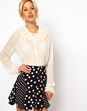 ASOS Blouse With Layered Lace Collar And Cuff