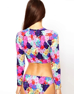 Image 2 ofASOS Penelope Floral Long Sleeve Crop Bikini Top