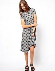 ASOS Midi Skater Dress In Flocked Spot