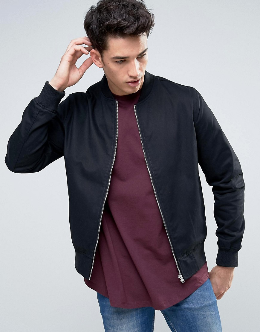 New Look Cotton Twill Bomber In Black - Black