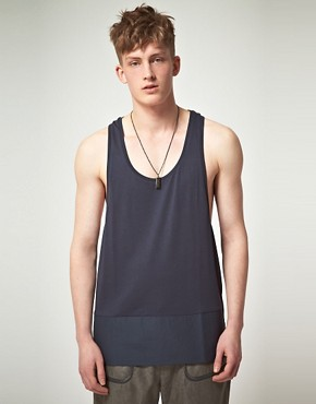 Image 1 of ASOS BLACK Vest with Contrast Panel