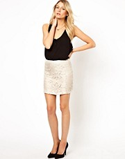 Mango Floral Cutwork Mini Skirt