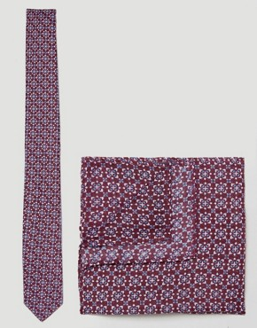 ASOS Tie and Pocket Square Pack In Burgundy Geo Print