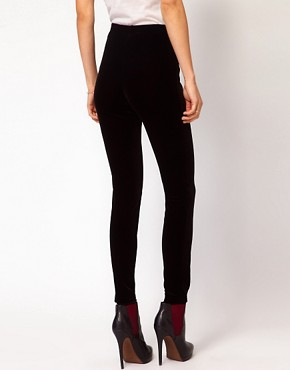 Image 2 ofMango Velvet Legging With Zip Detail