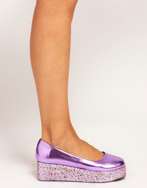 Image 3 ofASOS VOLLEY Glitter Flatforms