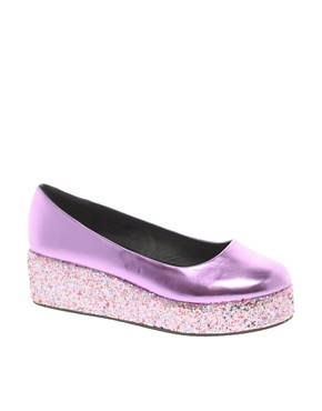 Image 1 ofASOS VOLLEY Glitter Flatforms