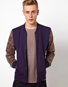 Image 1 ofASOS Bomber Jacket With Contrast Sleeves